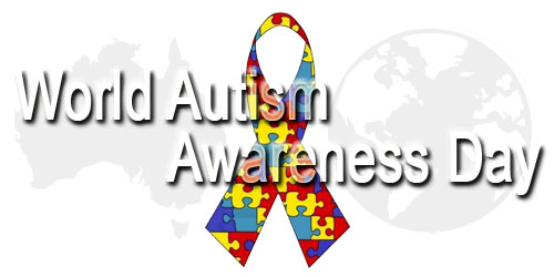 Autism Ribbon with World Autism Awareness Day text
